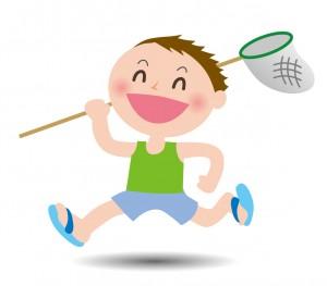 虫取り網を持って駆けまわる男の子のイラスト