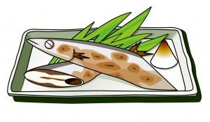 調理中の秋刀魚のイラスト