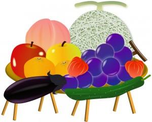 果物などのお供え物のイラスト