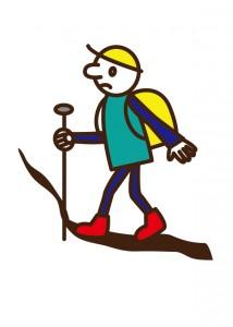 登山をしてる人のイラスト