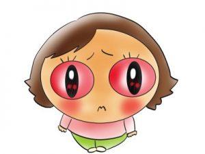 目が真っ赤に充血して困惑してる女の子のイラスト
