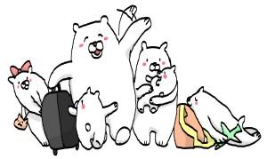旅行中のシロクマの家族のイラスト