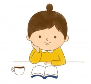 読書を楽しむ女の子のイラスト