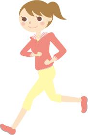 スポーツウェアを着てジョギングする女性のイラスト