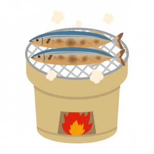 秋刀魚の塩焼きのイラスト
