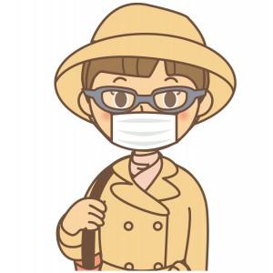 花粉症対策をしてる人のイラスト