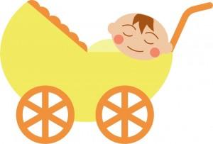 乳母車に乗った赤ちゃんのイラスト