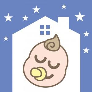 ぐっすり眠る赤ちゃんのイラスト