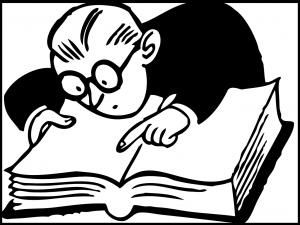 読書に夢中なメガネの男の子のイラスト