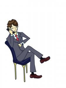 足を組んで電話をするビジネスマン男性のイラスト