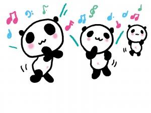 楽しそうに踊ってるパンダ達のイラスト
