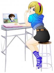 前のめりになってパソコンを観てる女性のイラスト