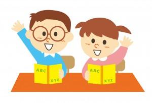 メガネをかけてる男の子とメガネをかけてない女の子が学校で授業を受けてるイラスト