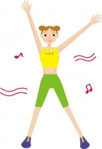 音楽に合わせてエアロビクスをしてる女性のイラスト