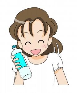 ペットボトルに入ったスポーツドリンクを手に持つ笑顔の女性のイラスト