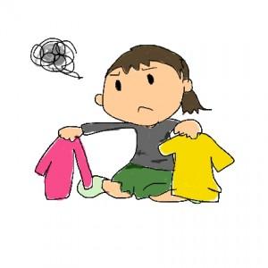 服の処分に悩む女性のイラスト