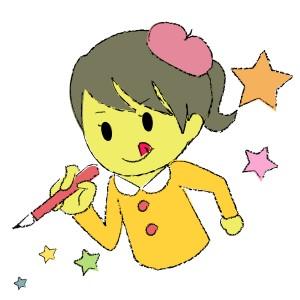 絵を描いてる女の子のイラスト