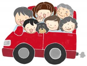 家族揃って車に乗って旅行に行ってるイラスト