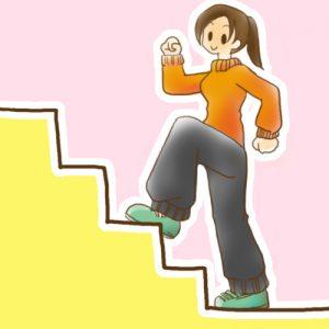 踏み台昇降運動をする女性のイラスト