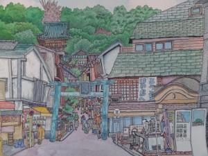 風情ある日本らしい風景のイラスト