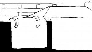 大物布製品の虫干しのイラスト