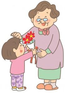 大好きなおばあちゃんに孫がプレゼントのお花を手渡してるイラスト