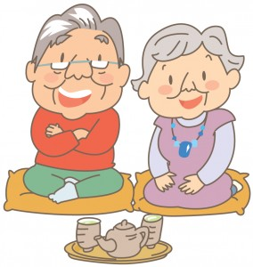 お茶を楽しむ老夫婦のイラスト
