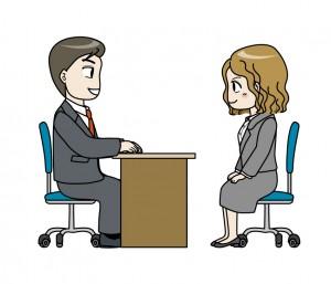 正しい姿勢で面接を受ける女性のイラスト