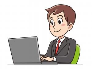 パソコンで仕事をするビジネスマン男性のイラスト
