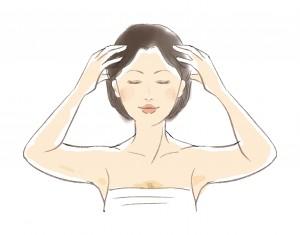 頭皮マッサージをしてる女性のイラスト