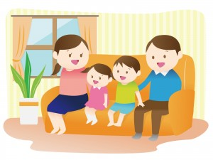 リビングでくつろぐ家族のイラスト