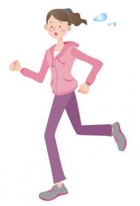 スポーツウェアを着て走ってる女性のイラスト