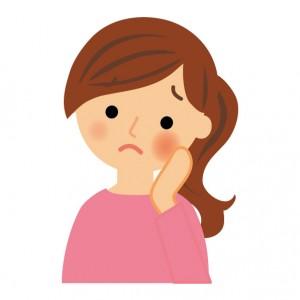 口内炎に苦しむ女性のイラスト