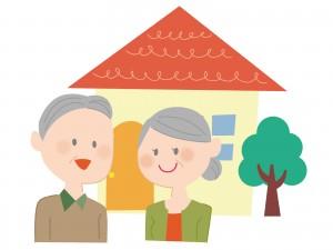 幸せそうな老夫婦のイラスト