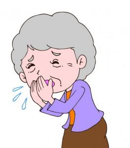 咳に苦しむ老婦人のイラスト