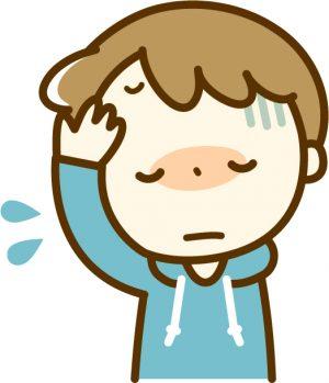 風邪を引いて熱が出て頭痛で苦しむ男性のイラスト