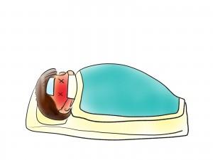 高熱にうなされて寝込んでる人のイラスト