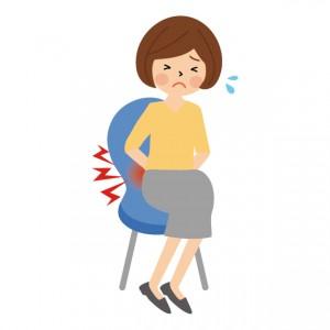 腰痛に苦しむ女性のイラスト
