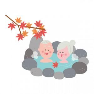 楽しそうに温泉に浸かってる、おじいさんとおばあさんのイラスト
