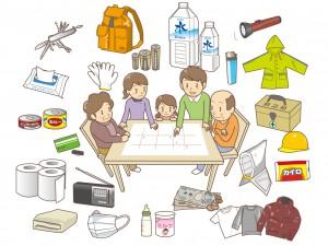 防災グッズと家族のイラスト