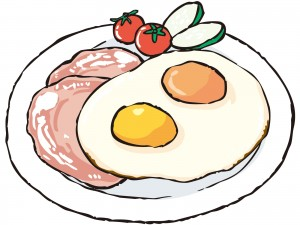 タンパク質の多い目玉焼きとハムのイラスト