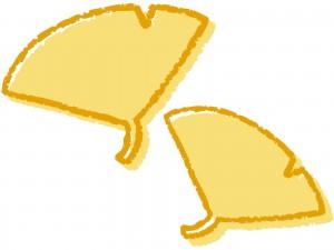 黄色のイチョウの葉のイラスト