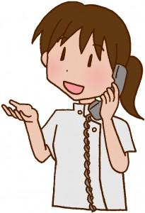 電話対応をしてる医療スタッフのイラスト