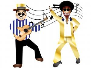 アフロヘアでダンスしてる、サタデーナイトフィーバーな男性のイラスト