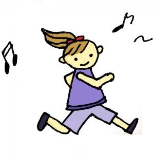 リズムにノッて運動してる女性のイラスト