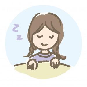 気持ちよさそうに睡眠中の女性のイラスト