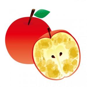 酸化して腐りかけてるリンゴの画像