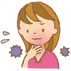喉を痛めた女性のイラスト